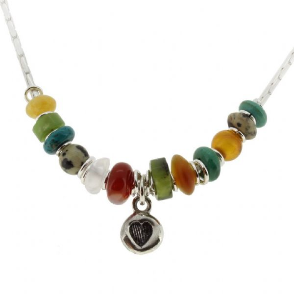Heart necklace, turquoise, amber, carnelian gemstones no.1A
